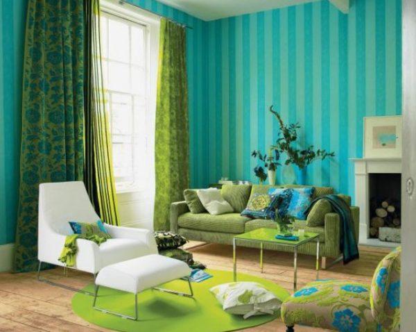 Современный дизайн зелёных штор