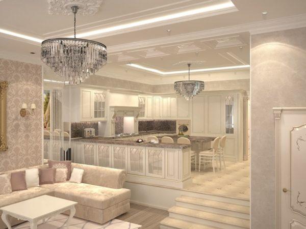Классическая гостиная с высоким подиумом