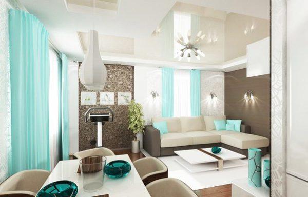 Голубой цвет в гостиной