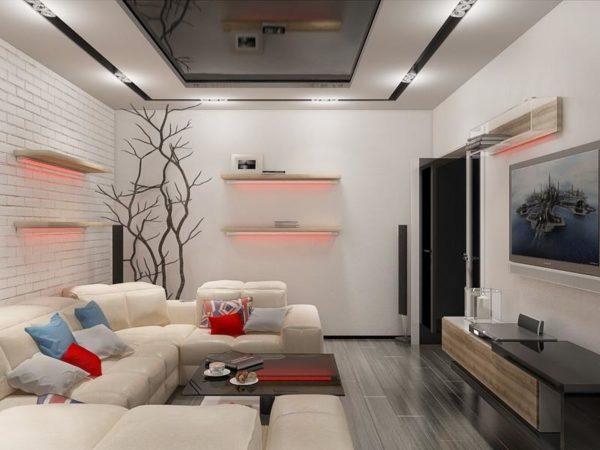 Современный стиль гостиной в панельном доме