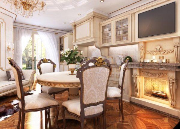 Маленькая кухня-гостиная в частном доме