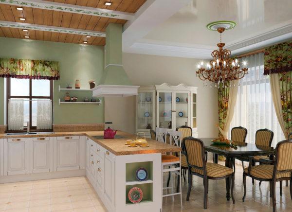 Стиль прованс в интерьере гостиной-кухни