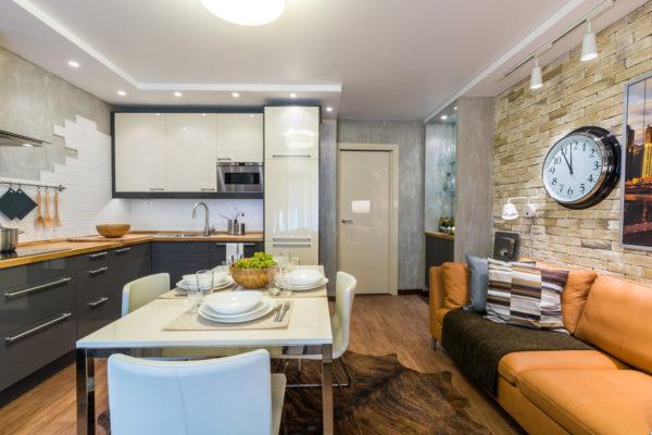 Скандинавсий стиль в кухне-гостиной