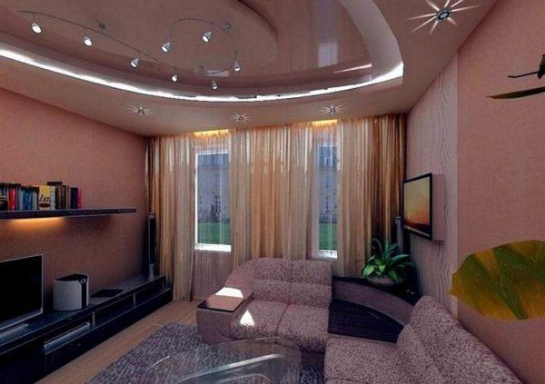 Сиреневый цвет в гостиной 18 кв.м