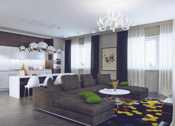 Большая зона отдыха в дизайне кухни-гостиной