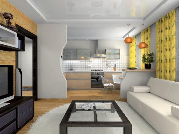 Белый диван и жёлтые шторы