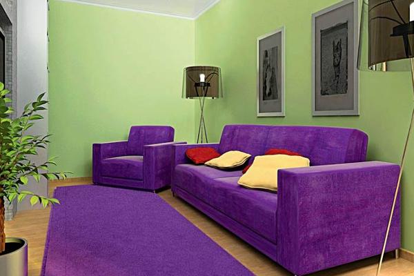 Сочетание злёного и фиолетового цвета в интерьере