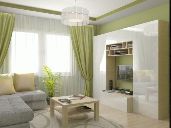 Светло зелёные оттенки в интерьере зала