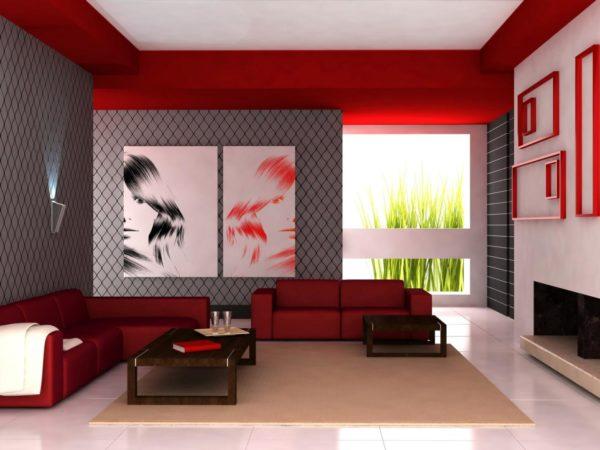 Красный цвет в интерьере зала