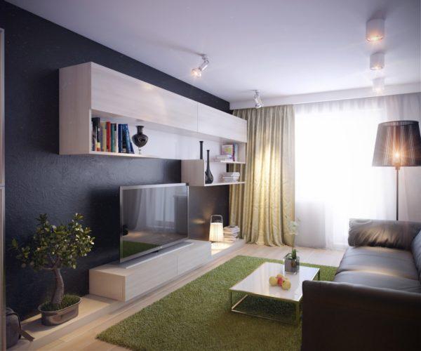 Модульная стенка в небольшой гостиной