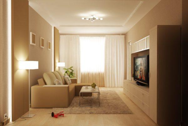 Интерьер небольшой гостиной в маленькой квартире