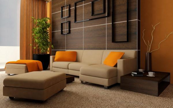 Фото бежевой мебели и оранжевого интерьера
