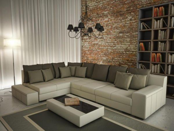 Бежевый диван в современном стиле