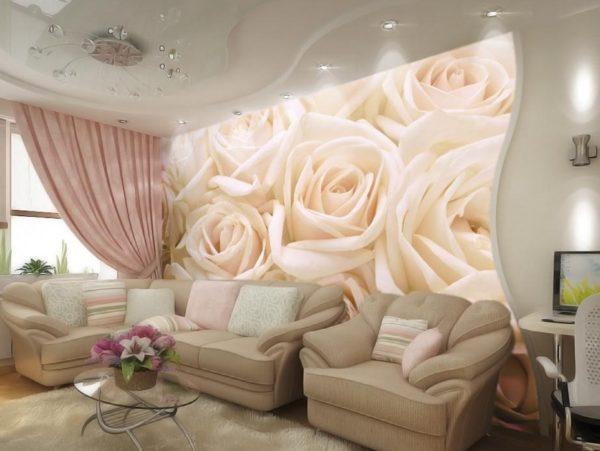 3д обои с розами для гостиной
