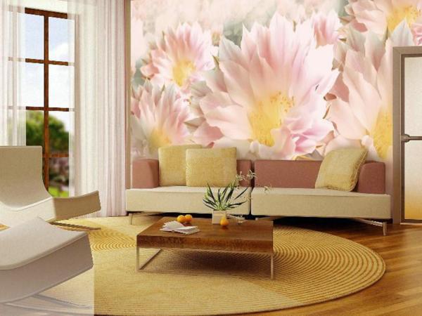 Розовые цветы на 3д обоях в гостиной