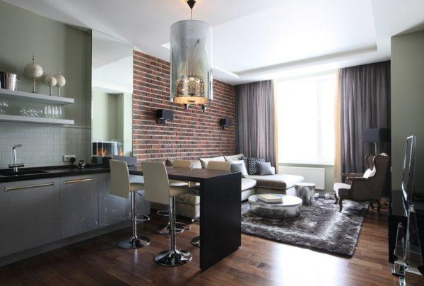 Модерн в интерьере кухни-гостиной