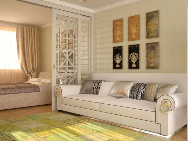 Необыкновенный дизайн гостиной-спальни 20 кв.м