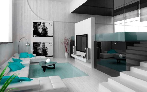 Голубой цвет в минимализме фото