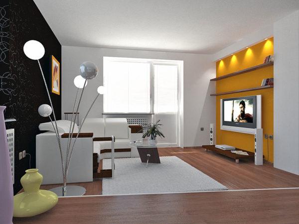 Жёлтая стена в светлой гостиной