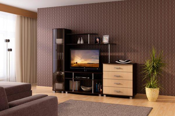 Корпусная мебель для гостиной в стиле техно
