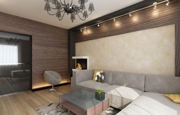Серый угловой диван в зале