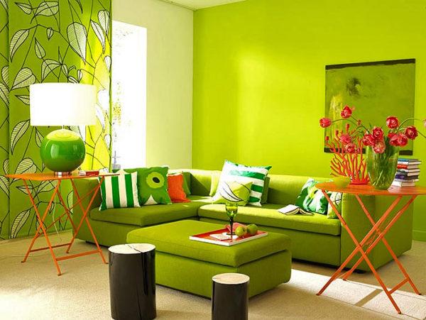 Ярко-зелёная гостиная фото