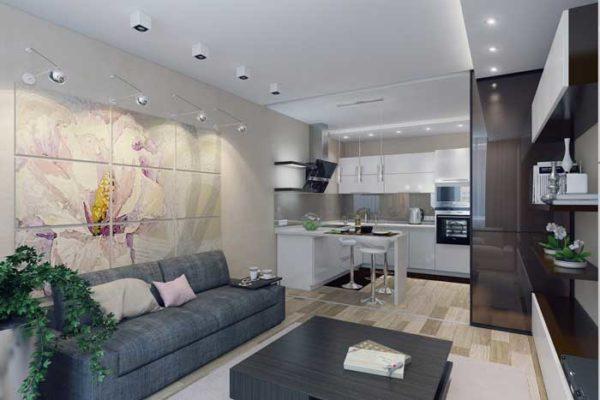 Серый диван в кухне-гостиной