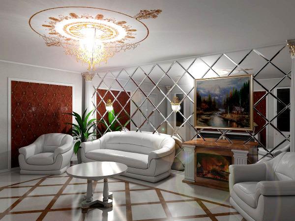 Зеркальные поверхности в гостиной