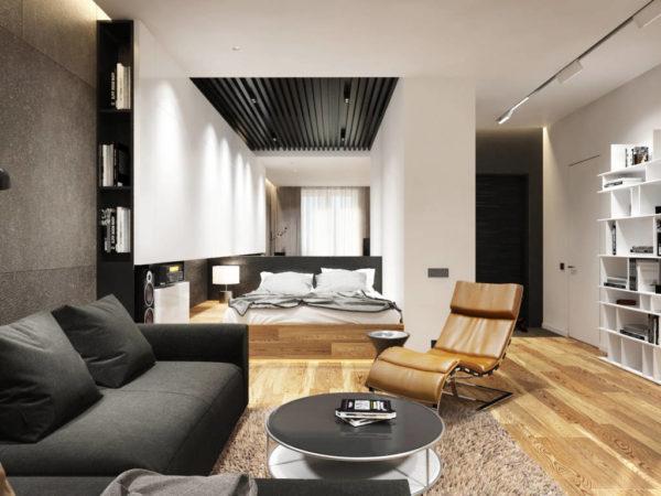 Спальня-гостиная в стиле минимализм
