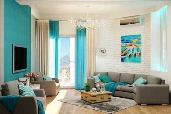 Серый диван в бирюзовой гостиной