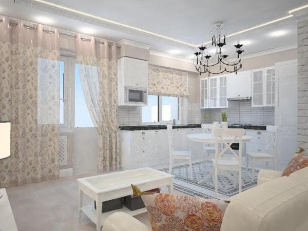 Классический стиль в кухне-гостиной 17 кв.м