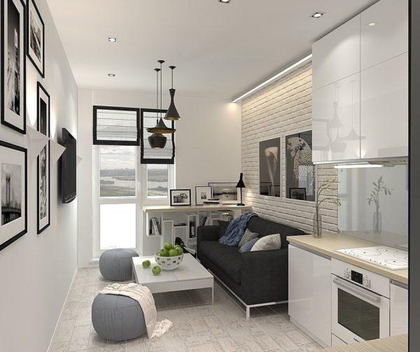 Чёрно-белая кухня-гостиная