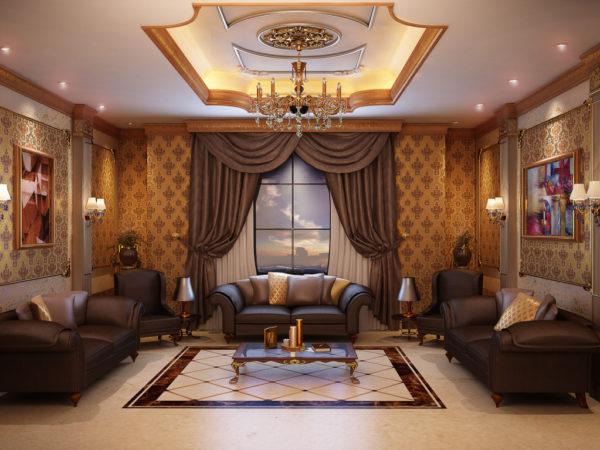Коричневая мебель в гостиной