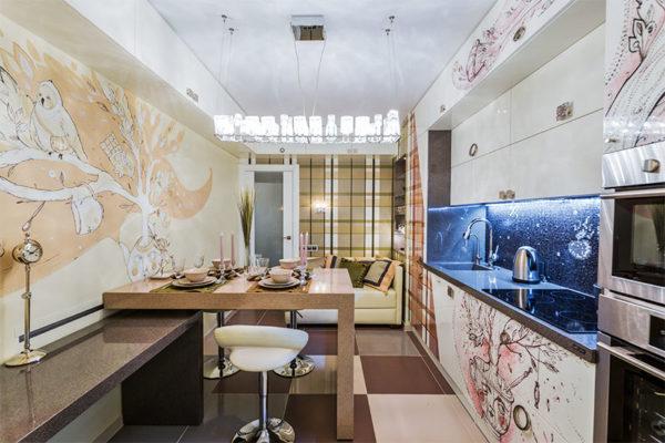 Оригинальная кухня-гостиная 13 кв.м