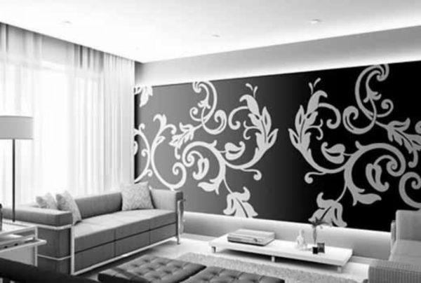 Чёрно-белый 3д орнаменд в гостиной