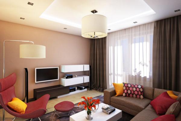 Бежевый и бордовый цвет в гостиной