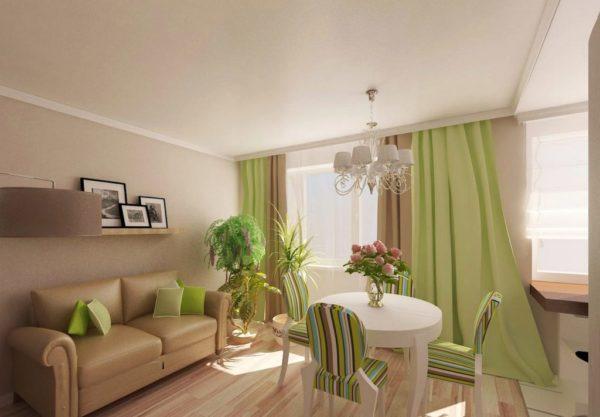 Бежевый и зелёный цвет в гостиной