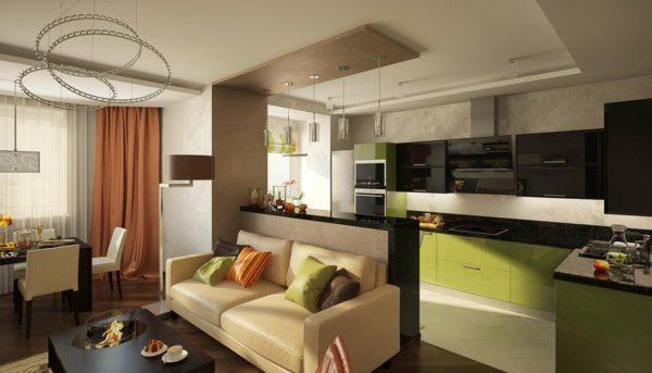 Светлый диван и чёрно-оливковая кухня